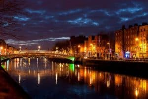 Lights on the River Liffey and the Ha'penny Bridge