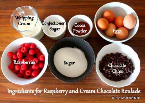 Ingredients for raspberry and cream chocolate roulade