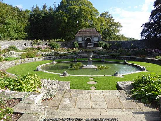Oval garden in Heywood Gardens, County Laois, Ireland
