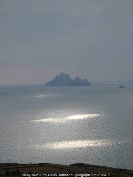Skellig islands from the Kerry coastline