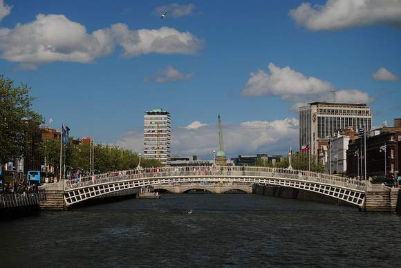 The span of the Ha'penny Bridge across the Liffey looking east towards Liberty Hall