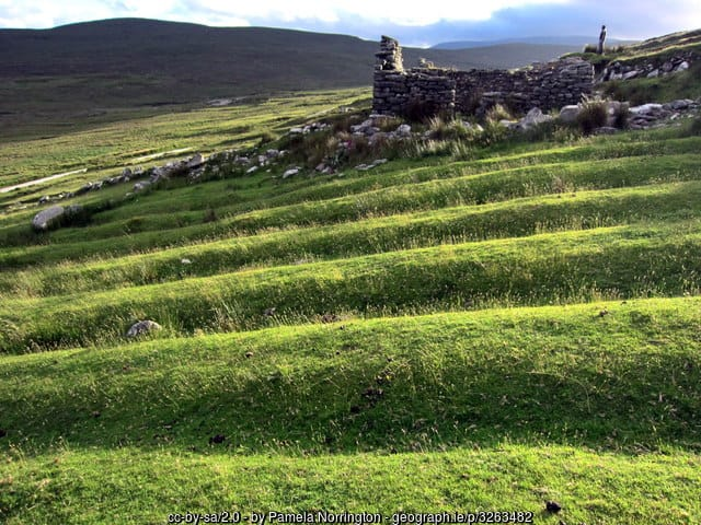 Lazy beds or potato planting ridges at the deserted village of Slievemore on Achill Island, County Mayo