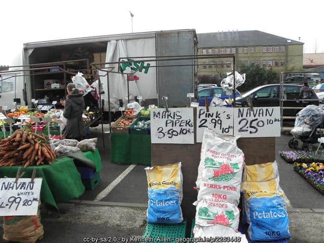 Potatoes for sale at an open air market
