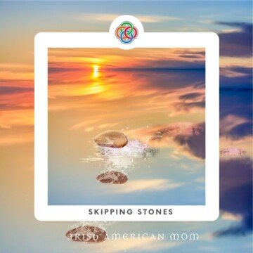 Graphic featuring stones skipping on water with text overlay