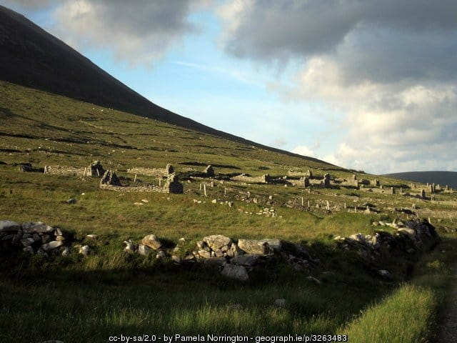 View of abandoned homes in The Deserted Village on Achill Island, County Mayo