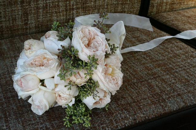 A bridal rose bouquet