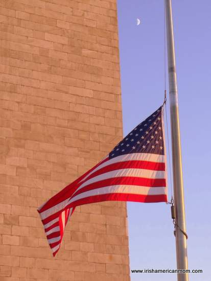 American Flag Beside the Washington Memorial