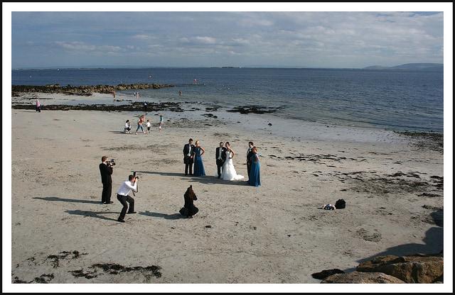 An Irish wedding photo shoot on Salthill beach in County Galway