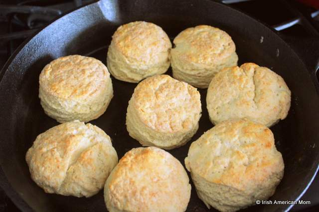 Buttermilk biscuits or scones cooked in a cast iron skillet