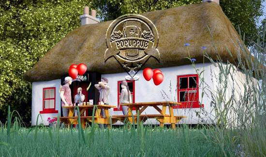 Example of an Irish thatched cottage pop-up pub