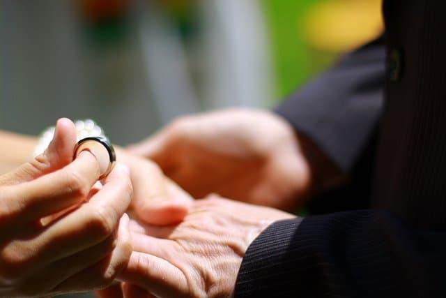 Exchanging of the rings during an Irish wedding