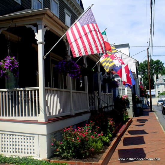 Flags outside homes in Annapolis, Maryland