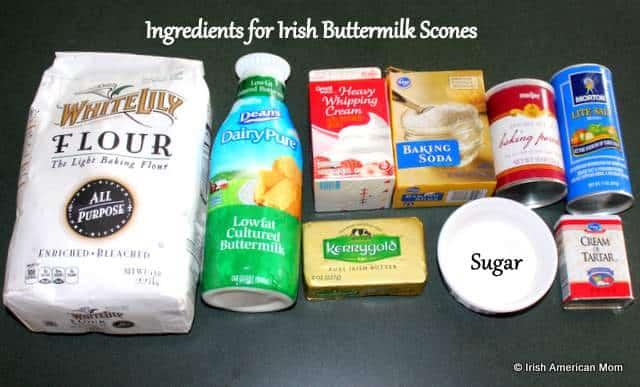 Ingredients for Irish buttermilk scones