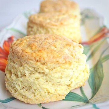 Close up view of buttermilk scones on a plate