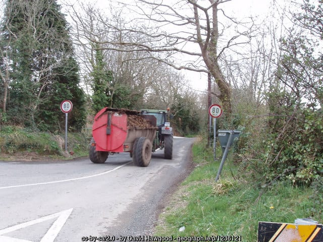 Irish roads - an Irish tractor with a stinky load