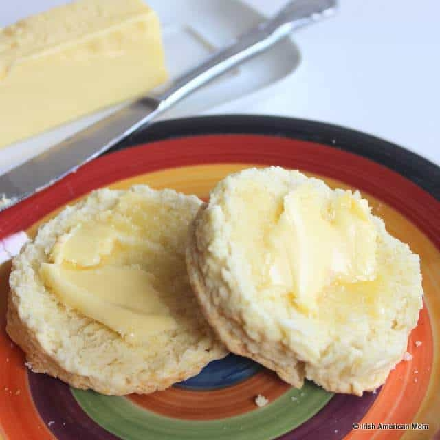 Melting butter on warm Irish buttermilk scones