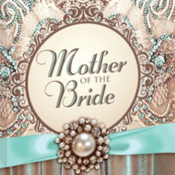 A decorative brocade book cover with a blue ribbon and pearl jewel with a circular frame with text