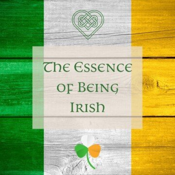 Irish flag colors on wooden boards with a text banner, shamrock and Celtic knot heart