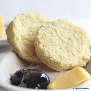 Two halves of an Irish buttermilk scone showing the texture of the cooked scone