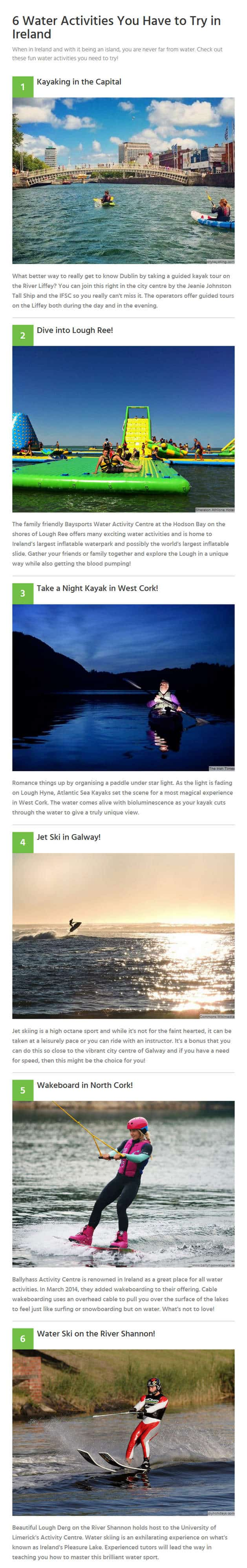 Water Activities in Ireland