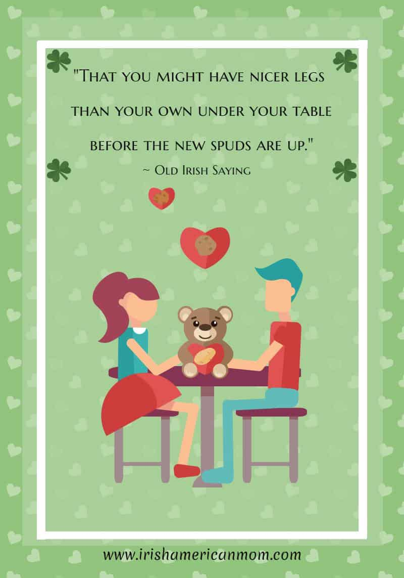 Text n a green graphic featuring a cartoon couple sitting by a table with a bear, hearts and shamrocks