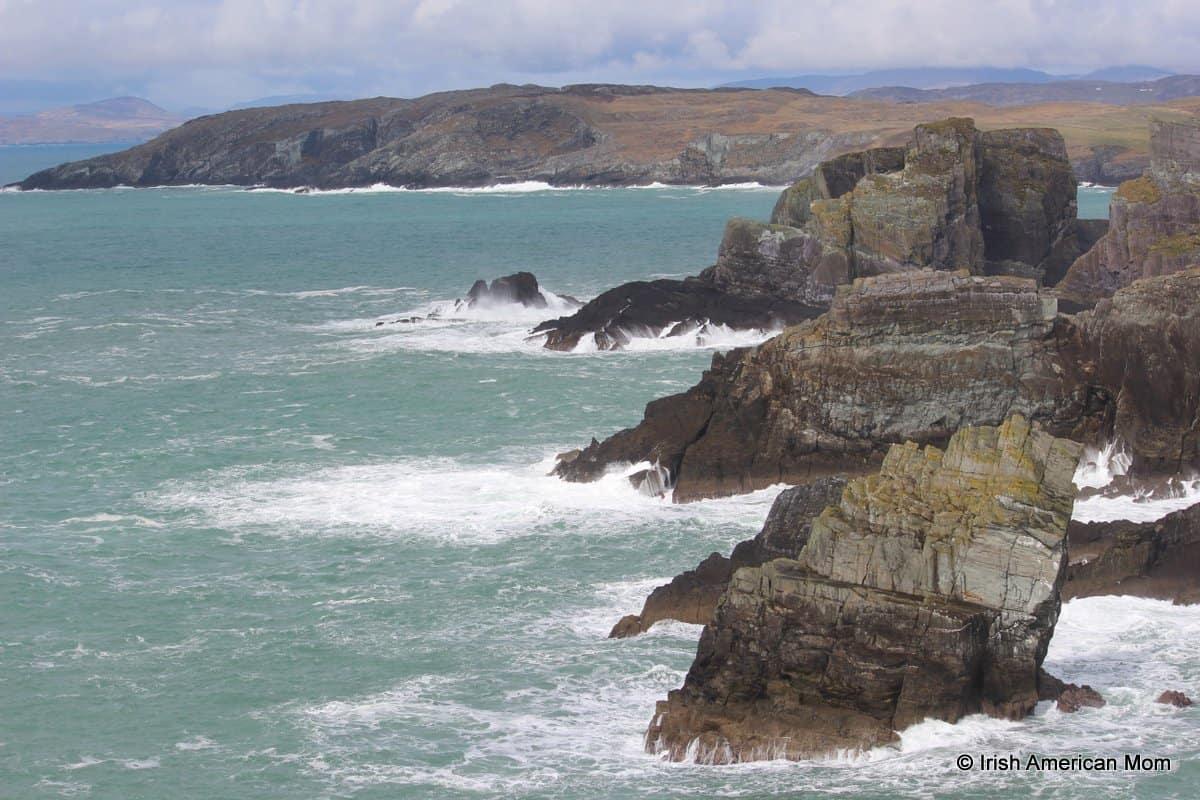 Sea cliffs and Atlantic ocean spray at Mizen Head