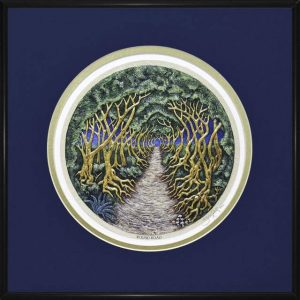 The Dark Hedges art print with navy surroundings