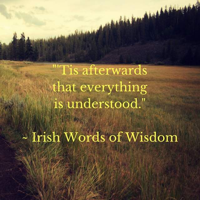 -'Tis afterwards that everything is understood.-- Irish Words of Wisdom