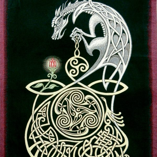 Celtic Dragon Woven Tapestry by Kevin Dyer