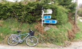 Bicycle lying beside an Irish road sign