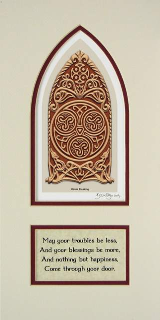 Maroon matted Celtic House Blessing