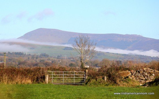 Mountain View beyond an iron gate in Ireland