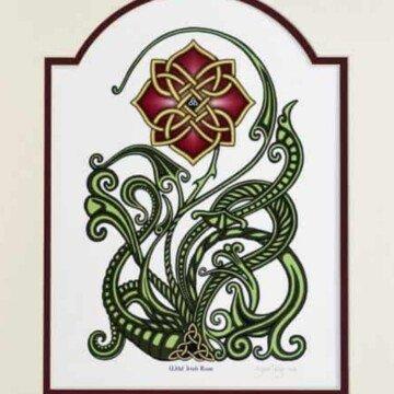A Celtic knotwork wild Irish rose art piece