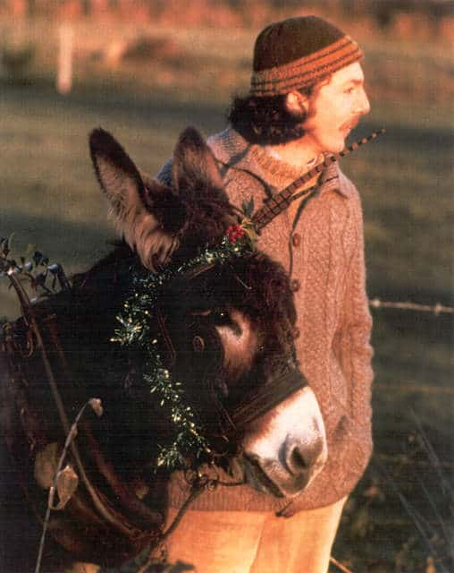 A man with a donkey