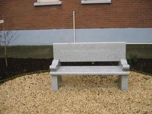 Polished granite cemetery bench