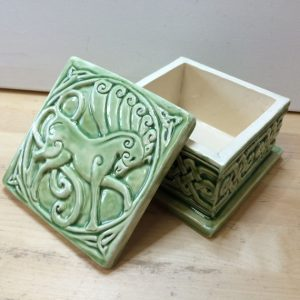 Green ceramic trinket box with Celtic Horse and Celtic scrolling