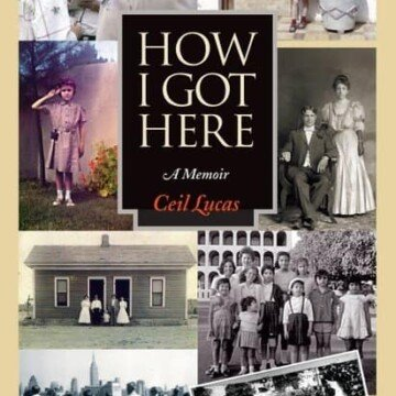 Book cover with text and family images