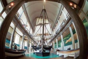 Ships and boats on display in museum