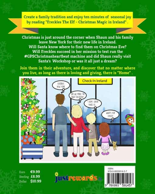 Text on a graphic showing a family looking out a window beside a Christmas tree