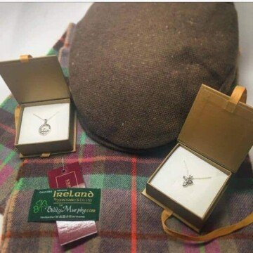 Irish gifts from Ireland tweed cap, Claddagh pendant, woolen scart and trinity knot necklace