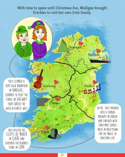 Map of Ireland showing where Freckles the Elf likes to visit