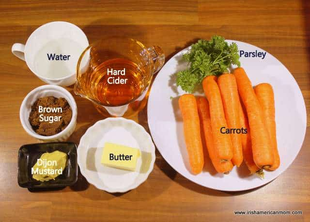 Ingredients measured and ready for preparing cider glazed carrots