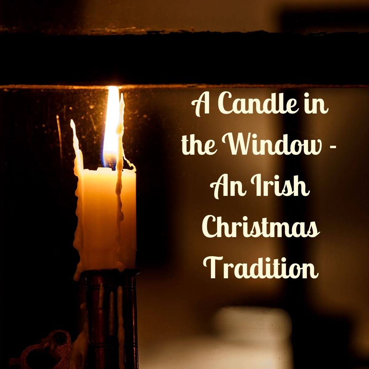 A candle flame seen through a window frame at night with text
