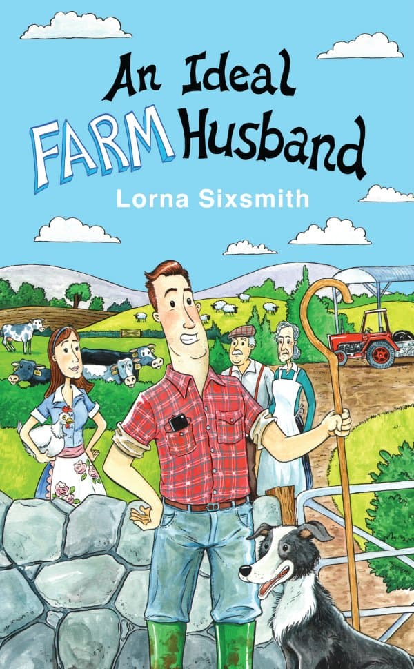 Front book cover with text and a farming family in a field