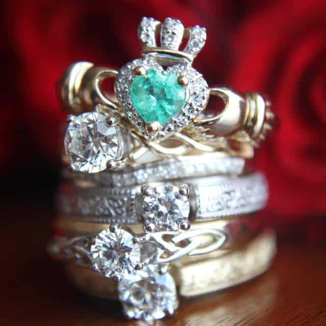 A stack of five Celtic engagement rings
