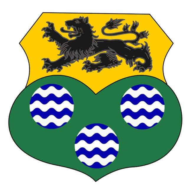 A coat of arms or shield with a lion image