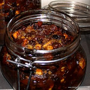 An open mason jar with homemade mincemeat pie filling