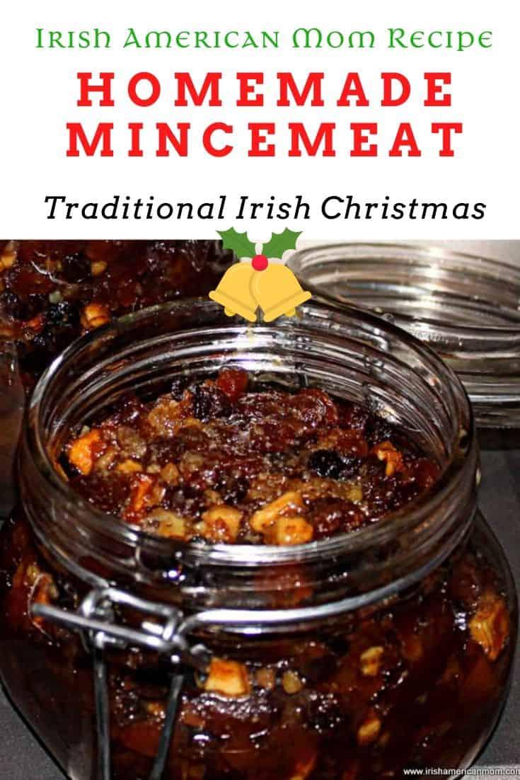 Pinterest graphic showing an open jar of homemeade mincemeat