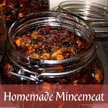 Dried fruit mincemeat in a mason jar with a text banner