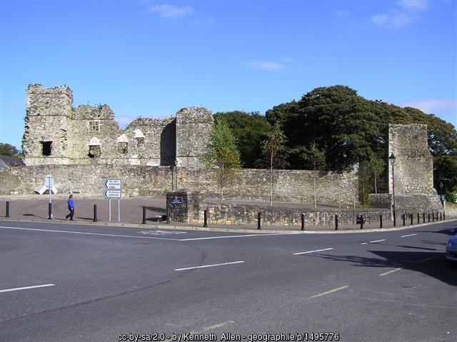 Castle ruins by a roadside